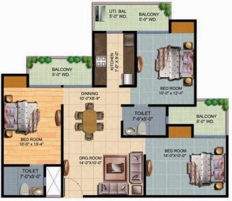 denah rumah 7x10 kamar 3 kreatif