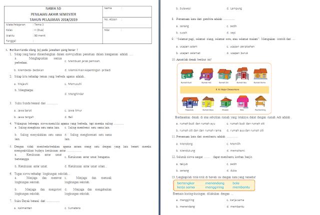Soal PAS Kelas 2 SD/MI: Tema 3