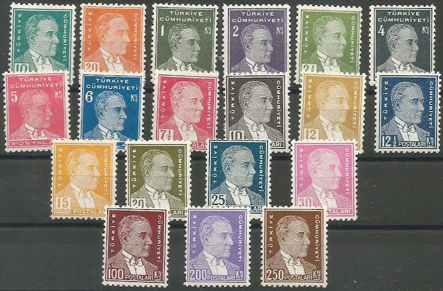 1933_35 Turkey 2nd Ataturk Regular Stamps Complete Set