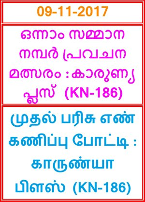 First Prize Guessing compitition KARUNYA PLUS KN-186