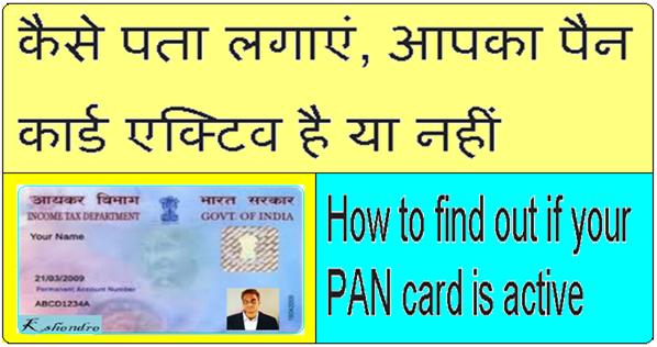 PAN Card Active Or Inactive Kaise Check Kare In Hindi