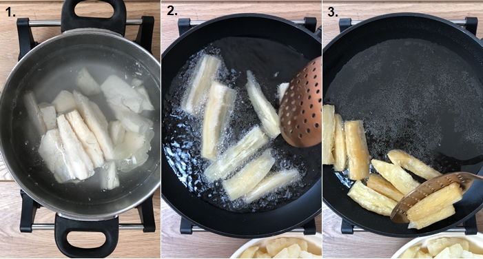 image of step by step method to make cassava chips
