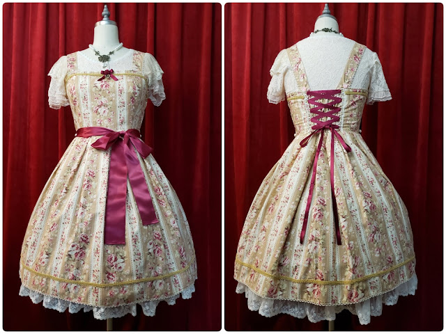 Front and Back of the dress completed on a mannequin in front of a red curtain