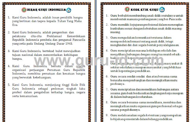 gambar Ikrar dan Kode Etik Guru Indonesia Format Word