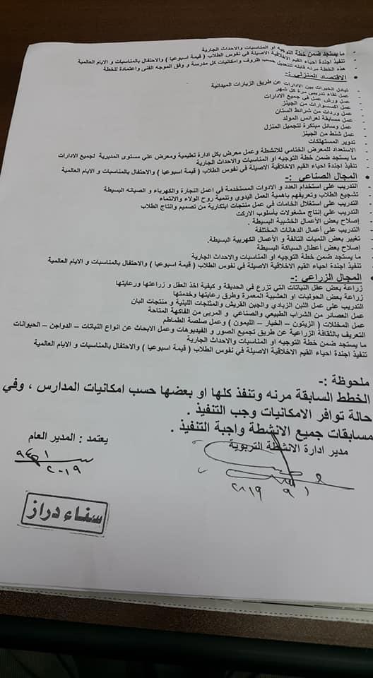 خطة الأنشطة بالمدارس وإختصاصات مشرف الأنشطة للعام الدراسي 2019 / 2020 11