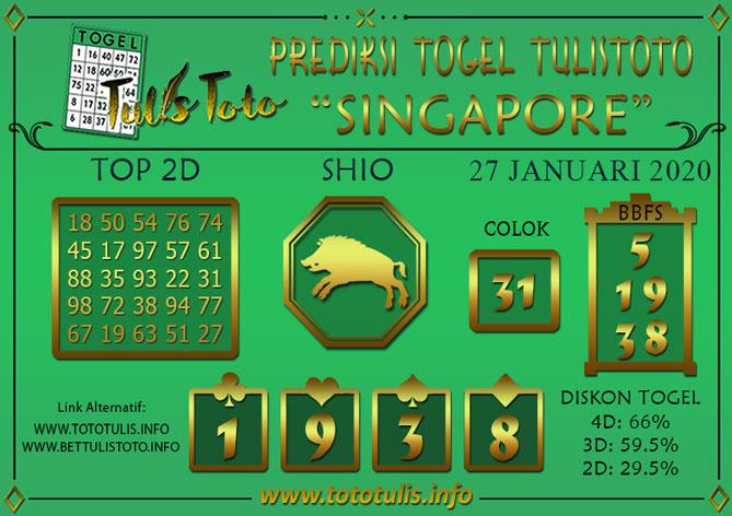 Prediksi Togel SINGAPORE TULISTOTO 27 JANUARI 2020
