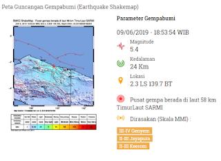 Pusat gempa berada di laut 58 km TimurLaut SARMI  dan dirasakan di 3 wilayah yaitu di Genyem, Jayapura, dan Keerom.