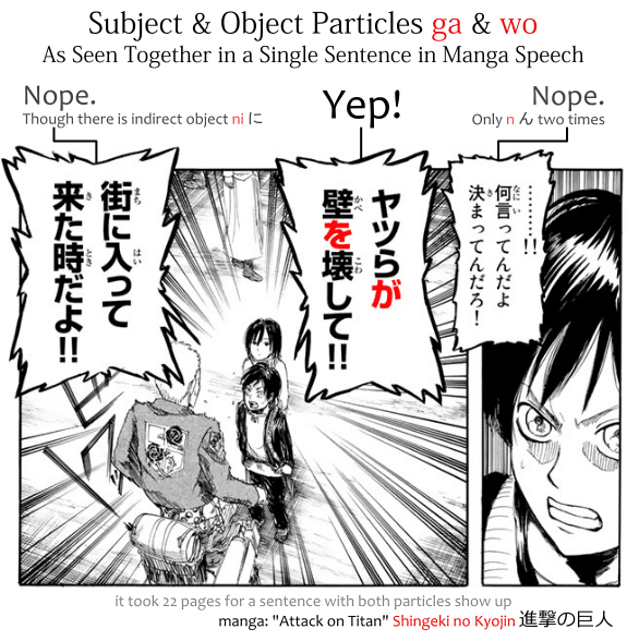 "Subject and object particles ga and wo as seen together in a single sentence in manga speech. Example taken from the manga ""attack on titan,"" Shingeki no Kyojin 進撃の巨人"
