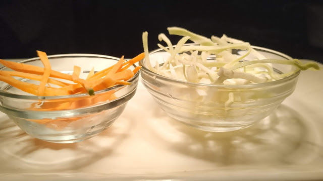 Thin slice of cabbage and carrots for coleslaw for veg club sandwich recipe