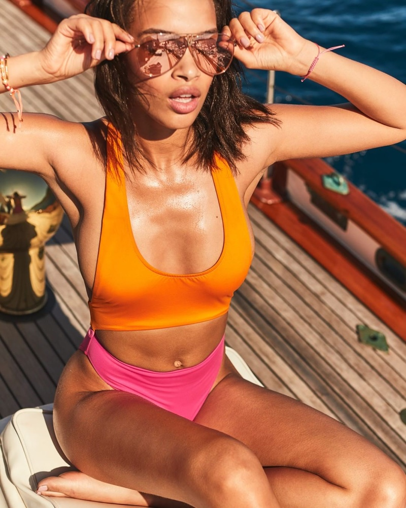 Model Nisaa Pouncey fronts Victoria's Secret summer 2020 swimwear campaign.