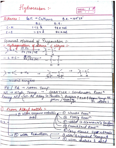 Chemistry Chapterwise Notes (Hydrocarbons) : For JEE and NEET Exam PDF Book