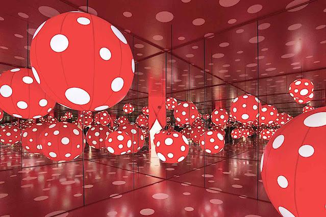Yayoi Kusama red balls with white dots