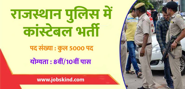 Rajasthan Police Recruitment 2019  jobskind.com