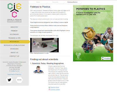 The image shows the page from the CIEC website where the resource, Potatoes to plastic, can be downloaded.