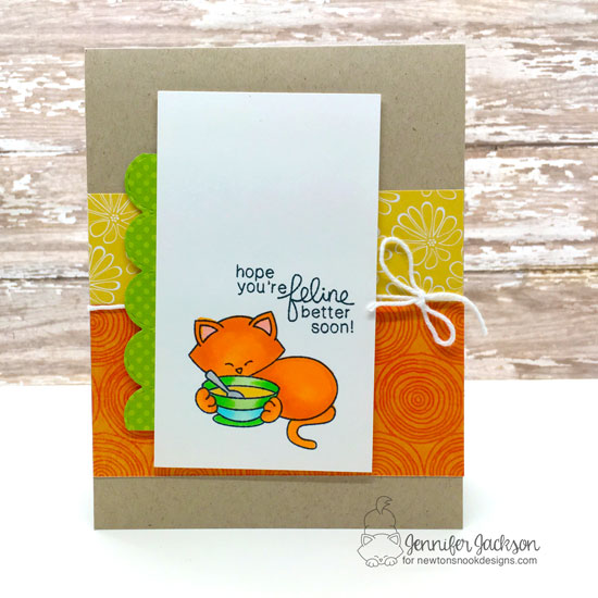 Feline Better Soon card by Jennifer Jackson | Newton's Sick Day Stamp Set by Newton's Nook Designs #newtonsnook #handmade