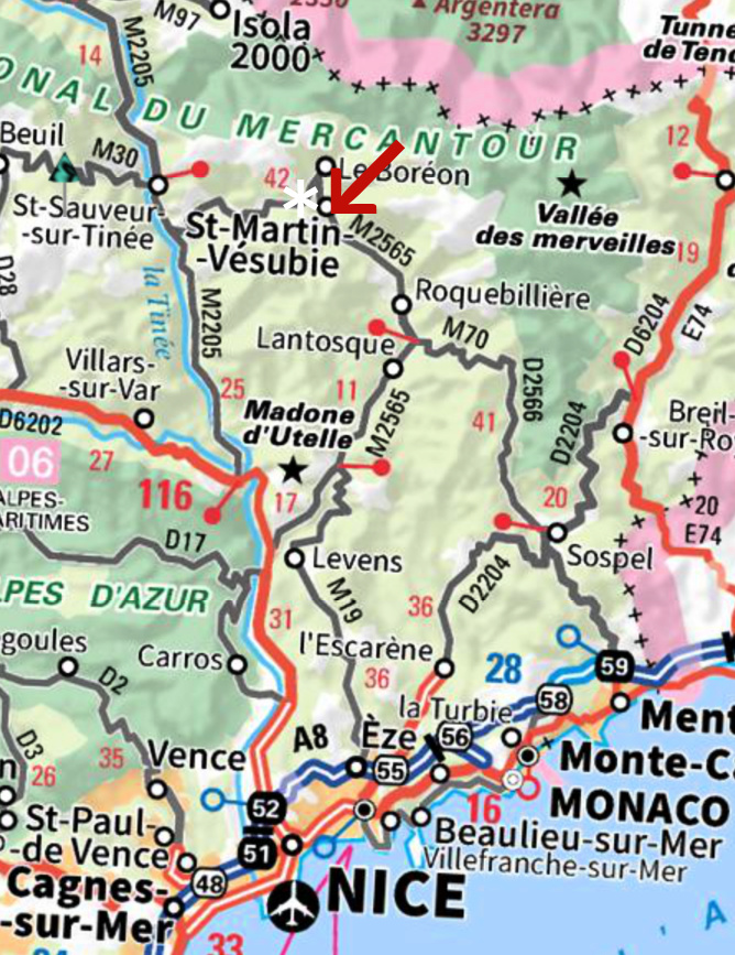 Saint-Martin-Vésubie location La Colmiane marked with asterisk