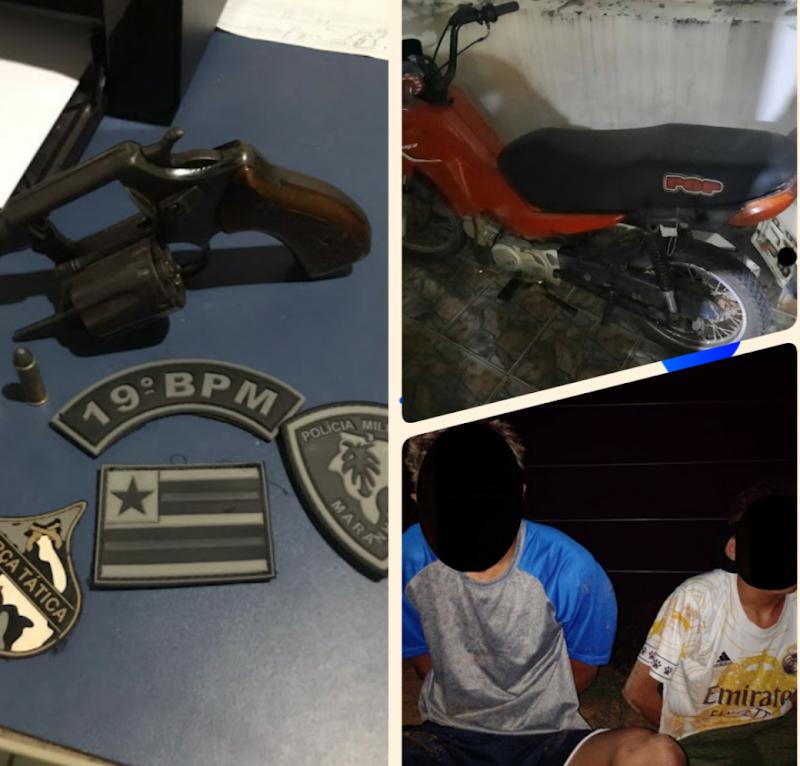 Policia Militar prende dois indivíduos portando arma de fogo em Igarapé Grande.