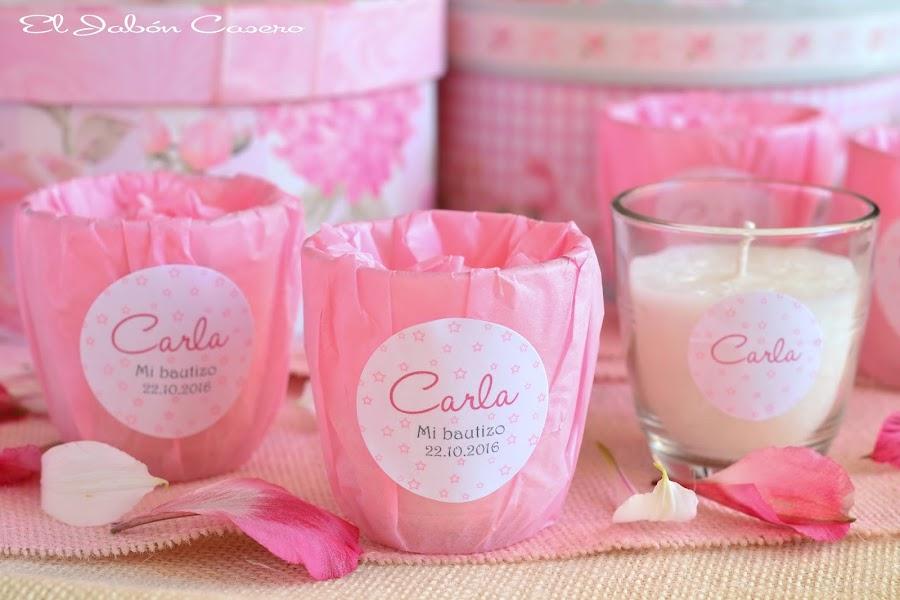 Detalles de bautizo en rosa velas aromaticas personalizadas el jabon casero