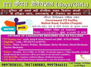 Hero Motocorp ITI Jobs Campus Placement Recruitment 2021at Govt. Fazilka and Govt. ITI Sunam, Sangrur (Punjab).