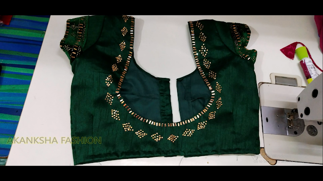 Very beautiful blouse back neck design with stone