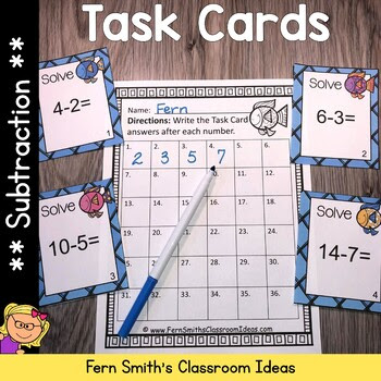 Ocean Themed Subtraction Task Cards