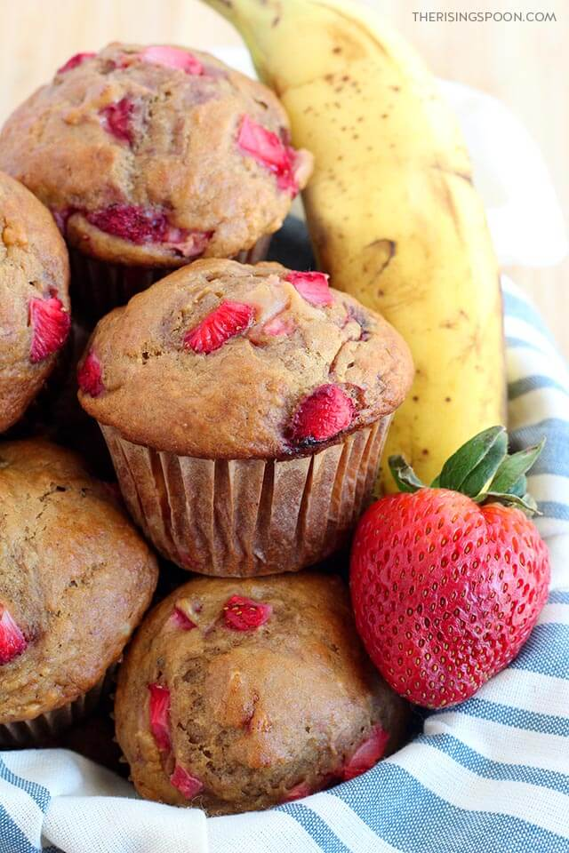 Strawberry Banana Bread Muffins (Dairy-Free with Gluten-Free Option)