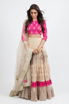 Beautiful Dusky Indian Model Girl In Fuchsia Lace Lehenga Choli.