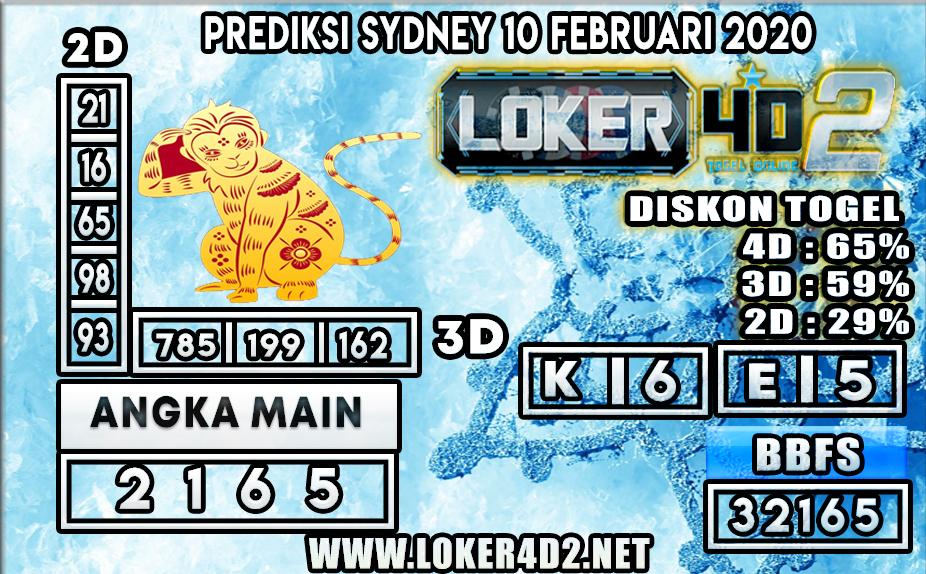 PREDIKSI TOGEL SYDNEY LOKER4D2 09 FEBRUARI 2020