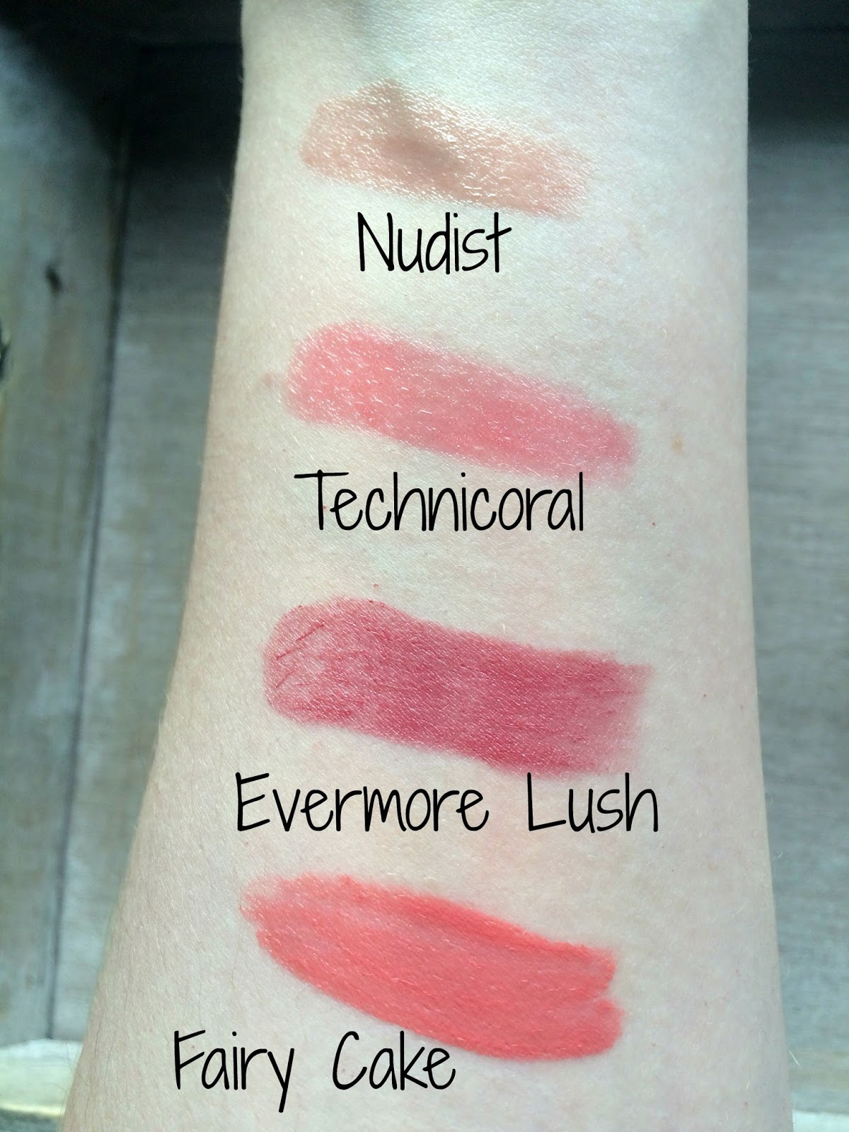 lipstick swatches soap and glory nudist technicoral maxfactor lipfinity evermore lush collection fairy cake
