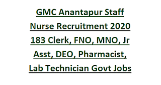 GMC Anantapur Staff Nurse Recruitment 2020 183 Clerk, FNO, MNO, Jr Asst, DEO, Pharmacist, Lab Technician Govt Jobs