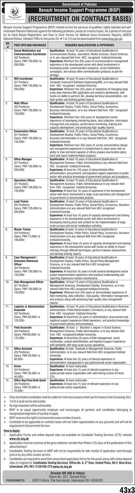 Jobs in Benazir Income Support Programme BISP Latest Advertisement 2020