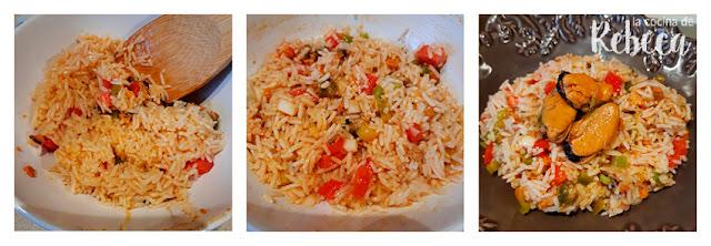 Receta de ensalada de arroz con escabeche de mejillones: emplatado