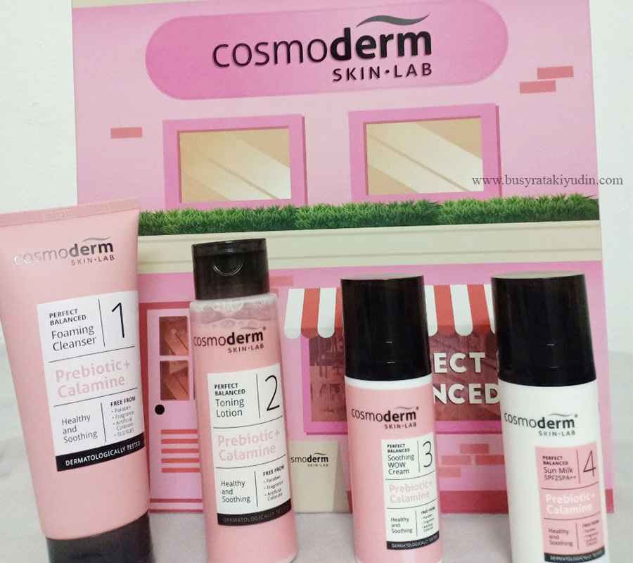 Cosmoderm Perfect Balanced Series, cleanser cosmoderm, toning lotion cosmoderm, soothing wow cream, mineral sun milk spf25,