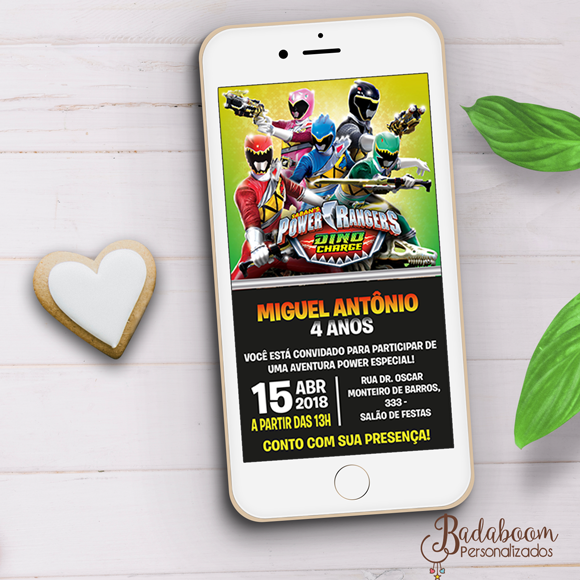 Power Rangers, Power Ranger Dino Charge, convite, digital, whatsapp, zap, arte personalizada, festa infantil