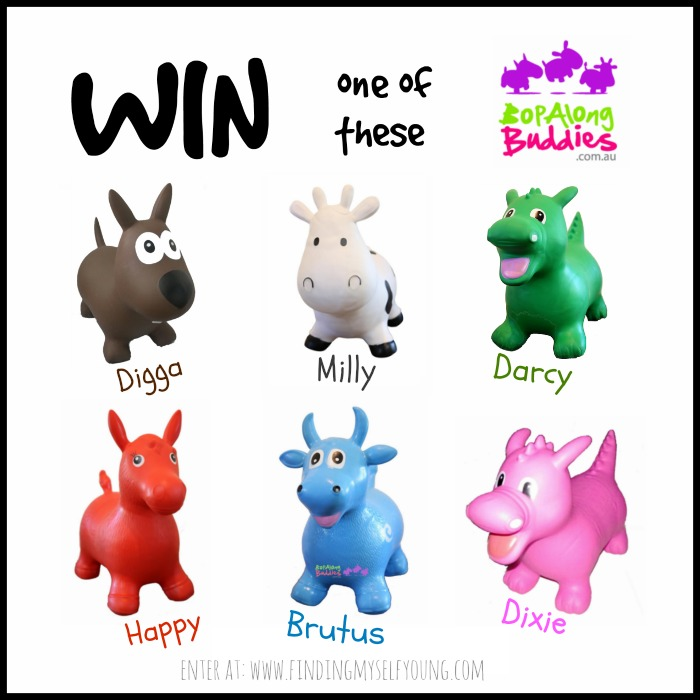 Win a bop along buddy, choose from digga, mily, darcy, dixie, brutus and happy.