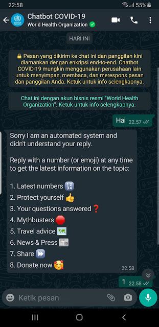 Inilah Cara Mendapatkan Informasi yang Akurat Tentang COVID-19 dari WHO Melalui WhatsApp Chatbot