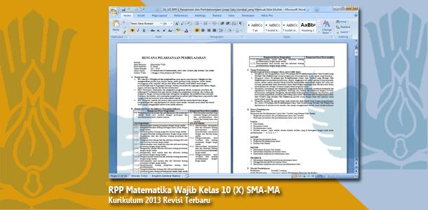 RPP Matematika Wajib Kelas 10 (X) SMA-MA Kurikulum 2013 Revisi Terbaru Tahun 2019-2020
