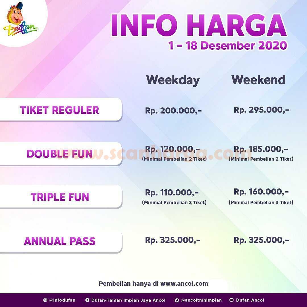 Info Harga Tiket Dufan DESEMBER 2020