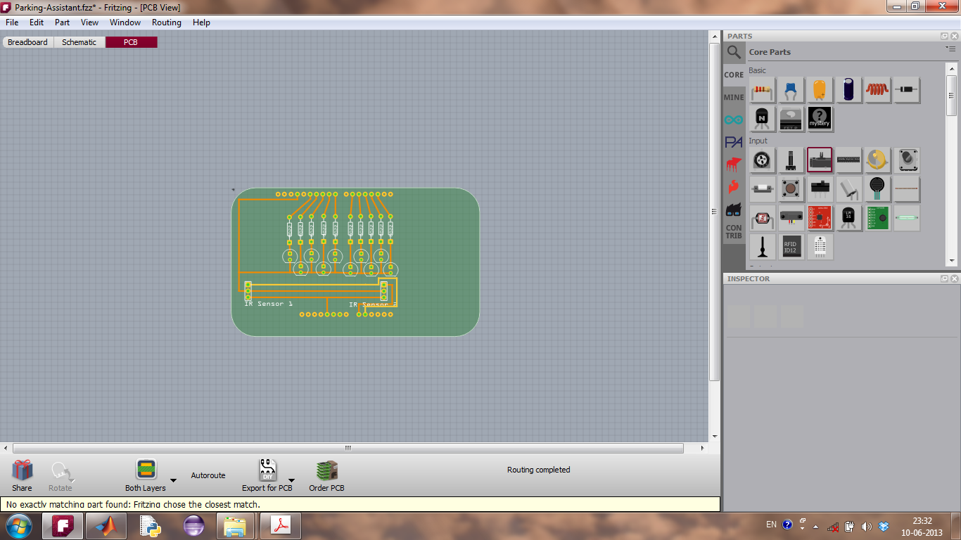 Fritzing Software in PCB View, with an open project, Parking Assistant