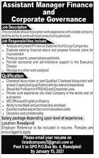 P.O Box No. 4 Rawalpindi Jobs 2021 for Assistant Manager