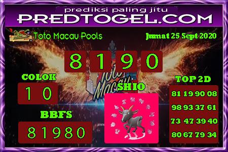 Pred Macau Jumat 25 September 2020