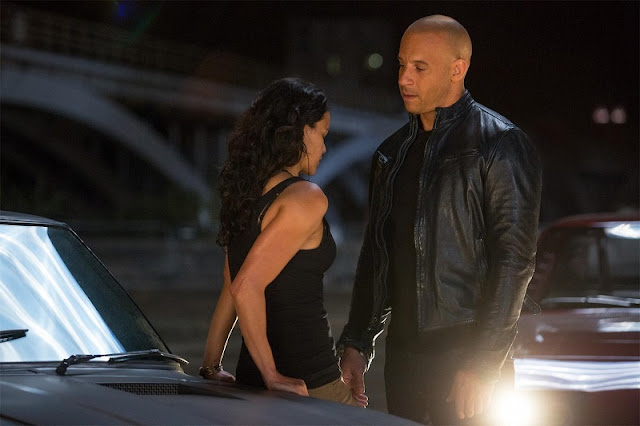 "Dom and Letty, in one of the few ""slower"" moments in Fast and Furious 6"