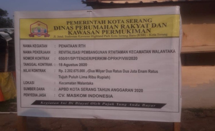 Pekerjaan Taman Kecamatan Walantaka Diduga Tidak Sesuai Spek