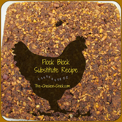My flock free-ranges all day and since they will be confined to the coop during the hurricane, I'd like to give them something to distract them and keep them occupied, so I decided to make them a homemade Flock Block substitute. I could have bought them at $13 each, but making them is easy and I feel good about giving them a nutritious treat.