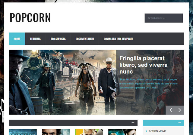 Popcorn movie blog Blogger Template Free Download