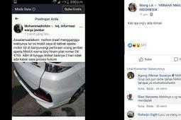 Postingan yang menjadi perdebatan akibat NMax nyrempet sebuah Mobil