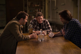 "Misha Collins as Castiel, Jensen Ackles as Dean Winchester, Jared Padalecki as Sam Winchester in Supernatural 14x08 ""Byzantium"""