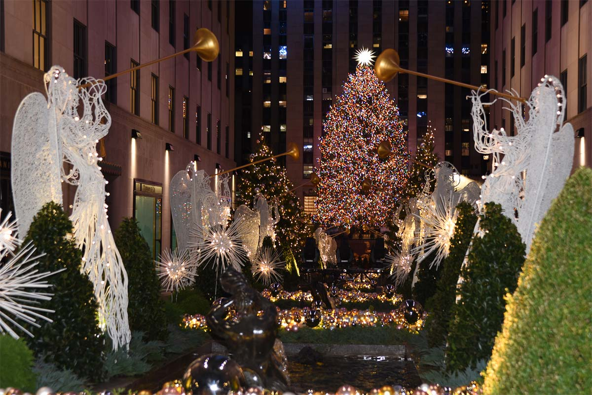 NYC Rockefeller Christmas Tree and Angels