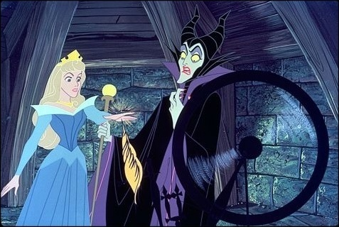 Aurora and Maleficent in Sleeping Beauty 1959 movieloversreviews.blogspot.com