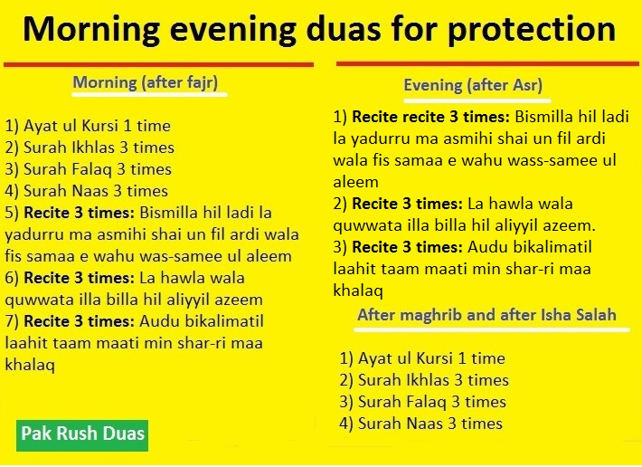 morning evening duas and prayers for protection